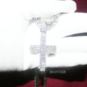 Bouvier Jewelry Accessories - White Gold Diamond Large Cross Tennis Chain
